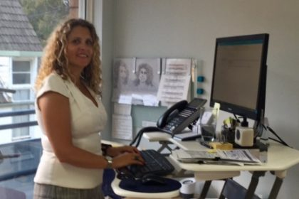 Lisa Bousfield of Peninsula Personnel at her standing-desk.